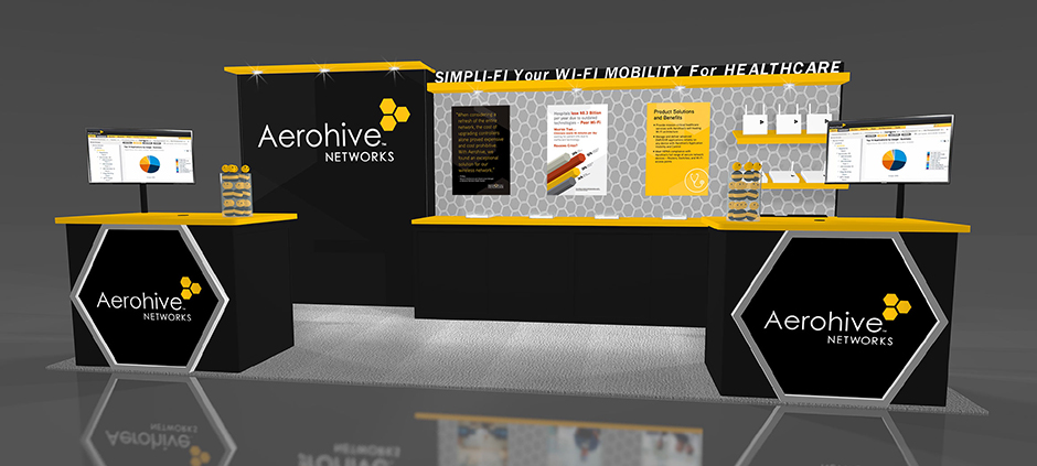 Aerohive booth rendering showing the placement of the 24x36 signs.