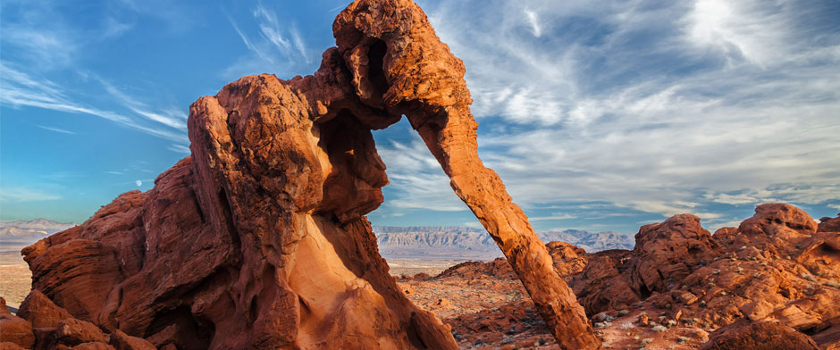 Elephant Rock landscape photo, Valley of Fire, Nevada, USA, sunrise