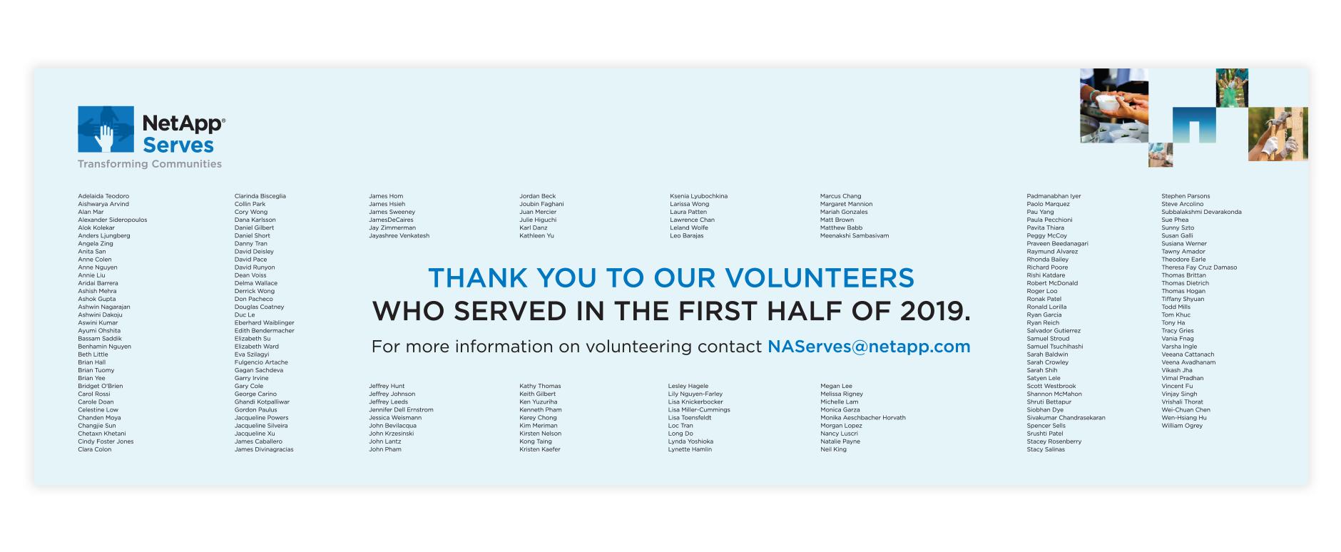 NetApp Volunteer Wall