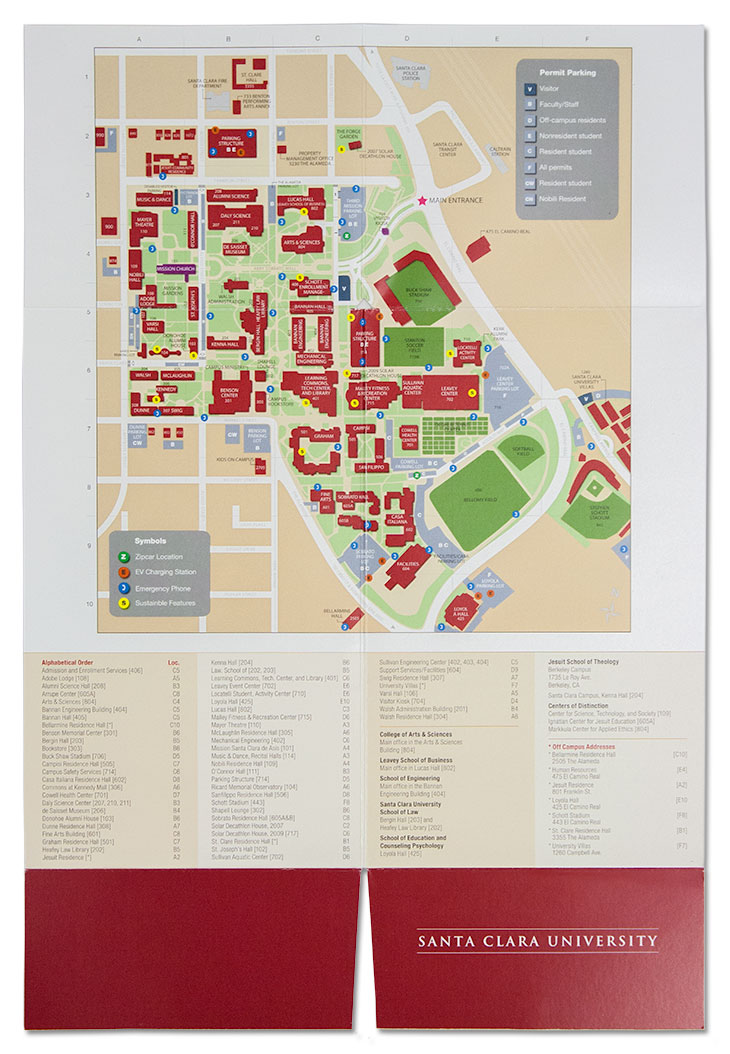 SCU Conference Guide fully unfolded to reveal a campus map.