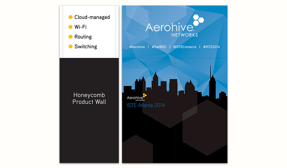 This is the back wall of the tower. Since the event was in Atlanta we decided to have a silhouette of the Atlanta city skyline. People were invited to have their picture taken with the Aerohive Bee and post it on Twitter.