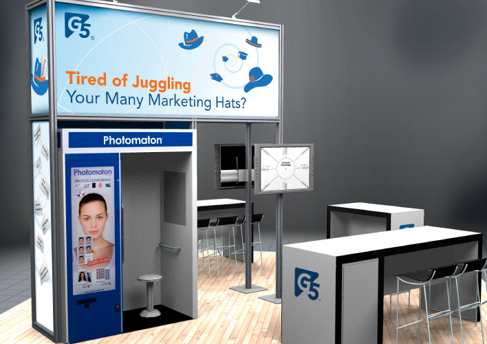 Booth rendering with graphics.
